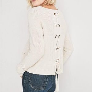 Lucky Brand Back Lace Pullover Sweater size XS